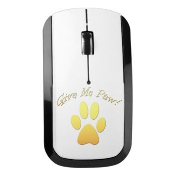Give Me Paw! yellow Wireless Mouse