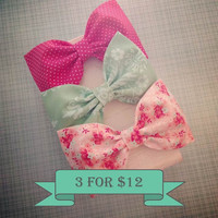 Peach floral coral polkadot mint fabric hair bow coral peach mint