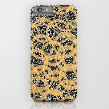 Abstract Beehive Yellow & Black Pattern iPhone & iPod Case by aeontextiles