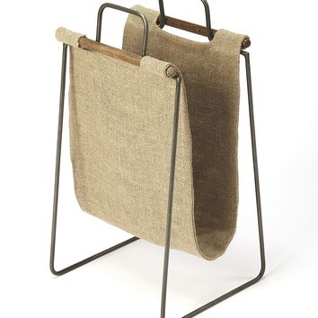 Idaho Burlap & Metal Magazine Basket