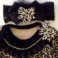 Newborn baby girl take me home outfit leopard print bodysuit ruffled rhinestone bow lace headband leopard furry shoes