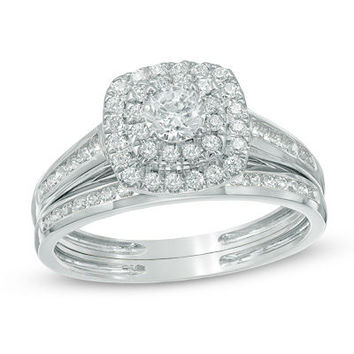 1/3 CT. T.W. Composite Diamond Vintage-Style Bridal Set in 10K White Gold - View All Rings - Zales