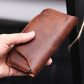 Waist Bags Causal Phone Cases For iPhone 6 6S Plus For Samsung Galaxy S7 S6 Edge S5 S4 Universal Leather Wallet Belt Clip Pouch