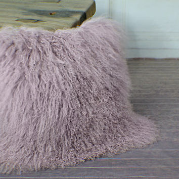 Long Curly Fur Cushion Cover Real Genuine Mongolian Lamb Square Throw Pillow Lilac