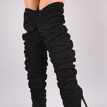 Liliana Ruched Pointy Toe Stiletto Over The Knee Boot