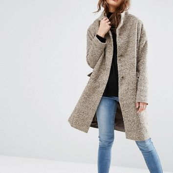 ASOS Oversized Coat in Wool Blend with Funnel Neck at asos.com