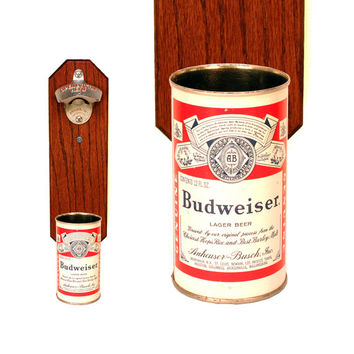 Wall Mounted Bottle Opener with Vintage Budweiser Bud Beer Can Cap Catcher - Gift for Groomsmen