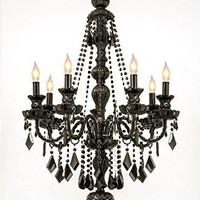 "New! Jet Black Gothic Crystal Chandelier Lighting H42"" X W26"" - G46-Black/490/7"