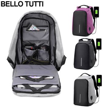 Bello Tutti Canvas Anti Theft Backpack Anti Theft With USB Charging