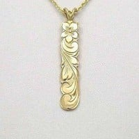 14K SOLID YELLOW GOLD HAWAIIAN 8MM PLUMERIA FLOWER SCROLL PENDANT
