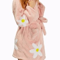 Sherpa Daisy Applique Robe in Light Pink