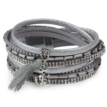 Gray Rhinestone Feather Wide Multilayer Leather Bracelet Magnetic Tassel Bracelet Women Wrap Charm Boho Bohemian Bracelets Bangle