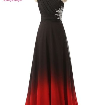 2017 New Long Prom Dress One Shoulder Black&Red Gradient Chiffon Ombre Evening Prom Dresses Party Gowns
