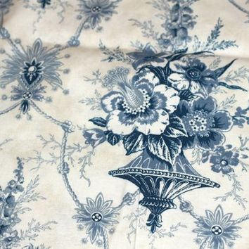 "1.7 yds Blue Toile Fabric | Blue Cotton Toile 64"" x 44"" 