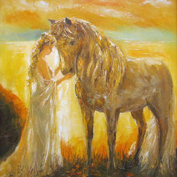 Sunset, giclee print of original oil painting,woman in white,horse,fine art paper print