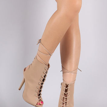 Nubuck Corset Lace Up Peep Toe Stiletto Booties