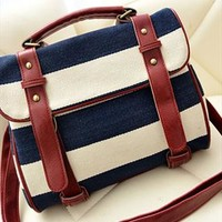 Navy Style Retro Stripe Print Motorcycle Bag