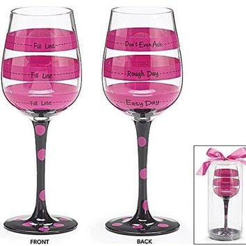 Hot Pink Black Polka and Stripe Fill Line Wine Glass Rough Day Dont Ask 12oz Gift
