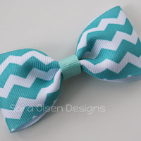 Reverse Chevron Hair Clip, Turquoise Aqua Hair Clip, Simple Bow Tie Tuxedo Hairbows, Toddler Hairbow, 3 Inch Bow