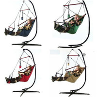 Hanging Hammock Chair With Stand Pillow Drink Holder Combo Heavy Duty Polyester