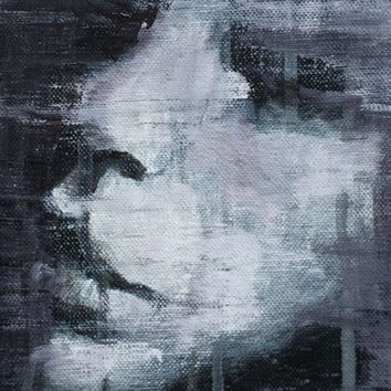 Black White Woman Portrait Abstract Female Original Oil Painting, Pojani ipalbus