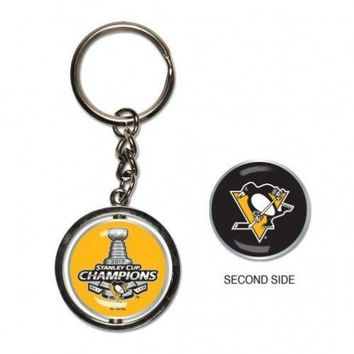 "NHL Pittsburgh Penguins 2017 Stanley Cup Champions 1"" Spinner Key Ring"
