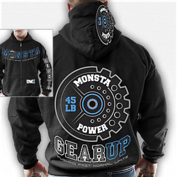 Zipper Hoodie: GearUp (Monsta Power): Black : Monsta Clothing Co, Bodybuilding Clothing, Powerlifting Apparel, Weightlifting Shirts, Workout Clothes and MORE