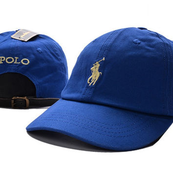 7e70f650904 Unisex Blue POLO Sports Embroidered Baseball Cap Hat