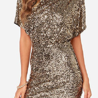 Golden Sequined Mini Dress