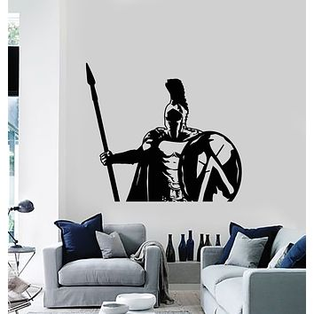Vinyl Wall Decal Spartan Soldier Warrior Military Spear Shield Stickers Mural (g652)
