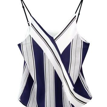 Blue Striped Wrap Front Chiffon Cami Top