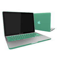 FrenchChimp for Macbook Pro 13 A1278 Rubber Skin Matte Hard Case + keyboard Skin Ocean Green