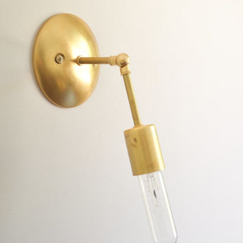 Gold & Brass Industrial modern minimalist mid century wall hanging sconce light. Bathroom, bedroom lamp lighting.