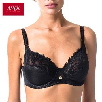 DCCK7G2 Woman's Bra Lace Black Soft Cup Cotton Lining Large Size Big Breast Support 80 85 90 95 100 C D E ARDI Free Delivery R1710-15