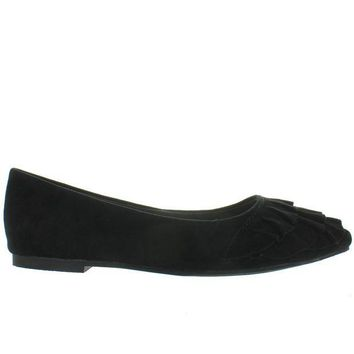 VONES2C Seychelles Downstage - Black Suede Ruffled Slip-On Flat