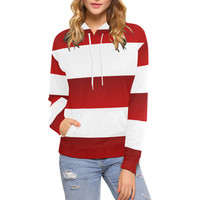Red White Stripes All Over Print Hoodie for Women (USA Size) (Model H13) | ID: D2319893