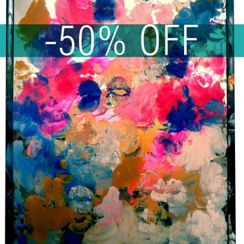DISCOUNTED - An Original Acrylic Impressionistic Abstract Mirror Painting Made With Lips by Kelli Gedvil!