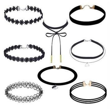 Summer Black Velvet 8Pcs Chocker Fashion Necklace