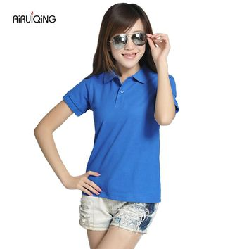 RICHARDROGER High Quality Solid Color Women Polo Shirt S-L Cotton Slim Polo Femme Shirt Brand England flag Polo Women