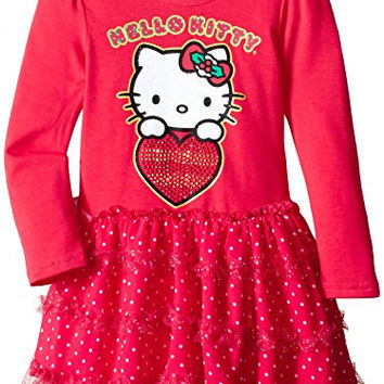 Hello Kitty Little Girls' Sequin Heart Dress, Red Ribbon, 6