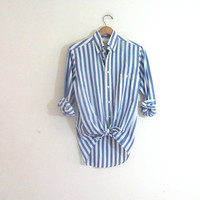 vintage blue and white striped shirt. long sleeve shirt. pocket t shirt.