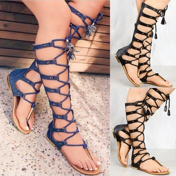 Knee High Gladiator Sandals Flat Women Shoes  Cut Out Zipper Strappy Summer Boots