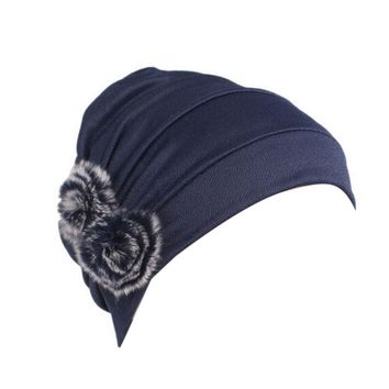Women  Knitted hat Cotton Cancer Chemo Hat Beanie Fur Ball Scarf Turban Head Wrap Cap Women's winter hat Gorros mujer invierno
