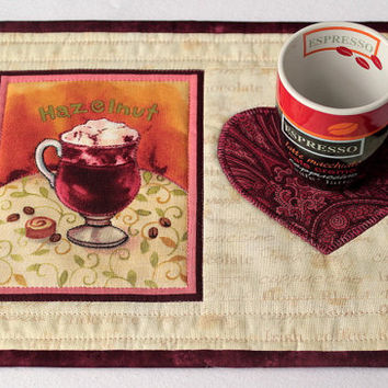 Quilted Mug Rug, Coffee Theme Mug Rug, Coffee Snack Mat, Hazelnut Mug Rug, Yellow and Cranberry Mug Rug, Quiltsy Handmade