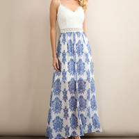 Ocean Blue Damask Maxi Dress
