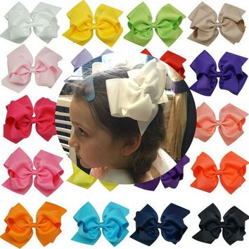 CREYONJ 1pc 6 Inch Bowknot Double Layers Solid Grosgrain Ribbon Hairbow Children Girls Hair Bows Clips Hair Accessories Dancing Hairpins