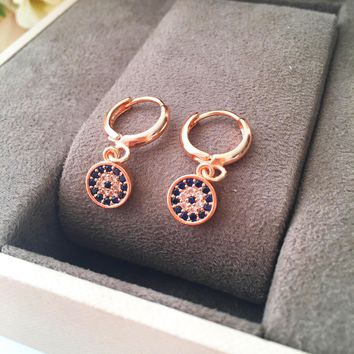 Evil eye small hoop earrings
