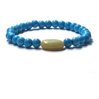Turquoise And Jade  Stretch Bracelet