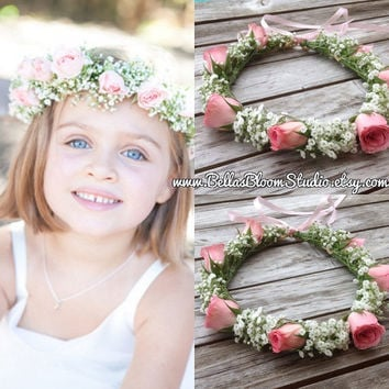 8b809fc932d Fresh Flower crowns Flower girl wreath crown Baby Breath Headpie