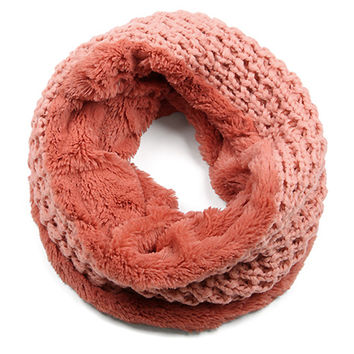 Knit Faux Fur Infinity Scarf - Coral